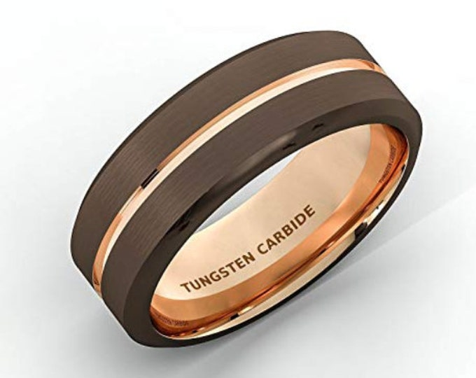 Reg 299.95 - 8mm Beveled Brown Tungsten Carbide With Rose Gold Accent Wedding Band Ring Anniversary, Wedding, Engagement, or Valentine's Day