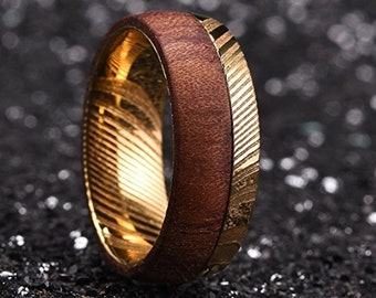 REG 649.95 - 8mm Gold Warrior Damascus Steel & Rose Wood Mens Wedding Ring Dome Bold Wedding Band | Engagement | Anniversary | US Sizes 6-16