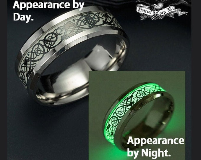 REG 199.95 Glow-In-The-Dark Ring 8mm Celtic !!!  Luminescent Green by night, Black Dragon Celtic over White by day.