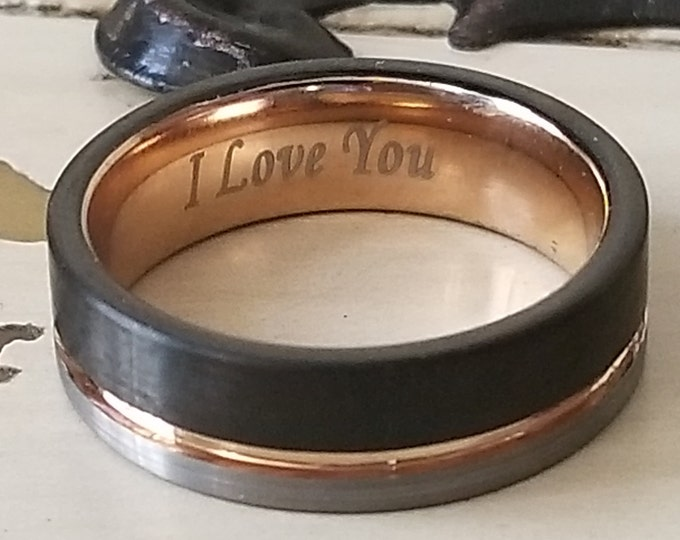 """Reg 235.00 - 6MM Black & Silver Brushed Tungsten Carbide w/ Rose Gold FREE Engraving """"I LOVE YOU"""", Anniversary Ring, Valentine's Day Gift"""