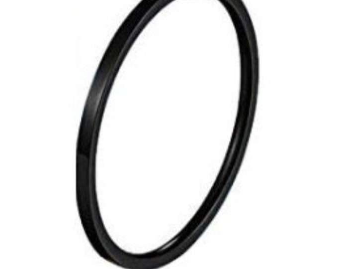1MM Thin (BLACK) Stainless Steel Knuckle Midi Stacking Rings for Women Girls Plain Band Comfort Fit (Buy Bulk & Save Big) US Sizes 2-20!