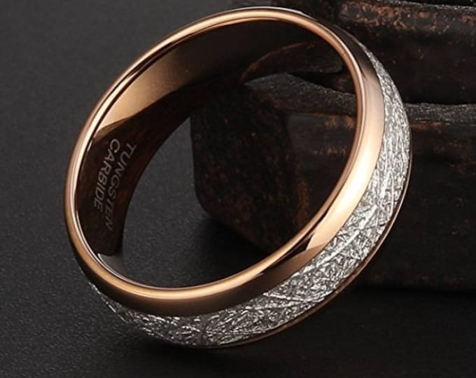 OVERSTOCK (limited sizes at this price) 8mm Rose Gold Tungsten Carbide Ring Vintage Meteorite Style (1 at this price) Same Day Shipping!