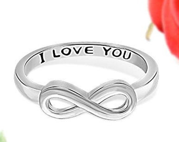 "Sterling Silver ""I Love You"" Infinity Band, Women's Ring, Mother's Day Gift, Eternity Knot Symbol Band, US Sizes  5-10."