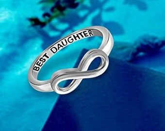 Sterling Silver Best Daughter Infinity Band, Women's Ring, Engagement, Wedding, Promise, Eternity Knot Symbol Band, US Sizes  5-10.