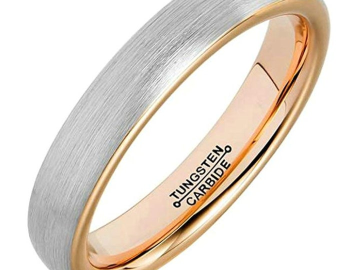 4mm Tungsten Carbide Band in Brushed Gun Metal Grey w/ Rose Gold Inner Band - Comfort Fit -  US Size 7-13 (Mens & Womens Engagement Ring)