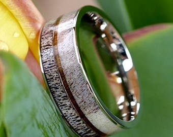 REG 329.00 - 8mm Natural Deer Antler Ring Koa Wood Inlay - Unisex Mens Womens Wedding Band / Stainless Steel Hunters Ring