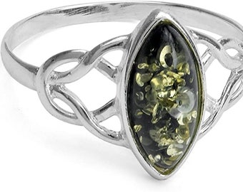 925 Solid Sterling Silver Genuine Baltic Green Amber Ring, Celtic Trinity Knot Ring, Unisex Ring, Engagement, Promise Ring Sizes 5-12.