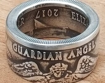 Niue 2017 Guardian Angel One Dollar .999 Silver Coin - Coin Ring US Sizes 3-20