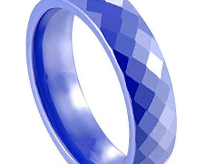 BLUE 6MM Ceramic Honeycomb Faceted Diamond Cut Ring (Multiple Color Options Available!)