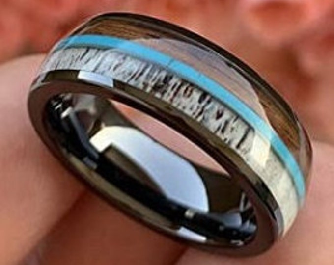 Reg 499.95  8mm Domed High Gloss Black Tungsten Carbide Steel Band, Comfort Fit w/ Real Deer Antler, Turquoise and Rose Wood (US Sizes 6-13)