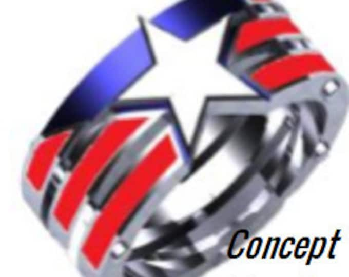 Custom Designed Ring Order for Kaitlin - 8mm Stainless Steel Band Captain America style band (designed by Kaitlin)