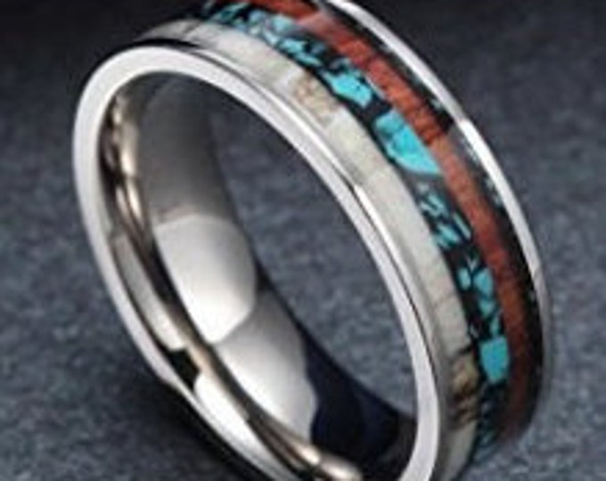 6mm Amazing Redwood, Deer Antler, and polished Turquoise stone set inside Titanium (wedding bands, engagement rings, anniversary, promise)