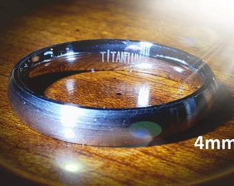 Reg 215.95 - 4mm Titanium Dome (Men, Woman, Unisex) Wedding Band Natural Gray Brushed Outer & Smooth Polished Inner Band -Comfort Fit Style2