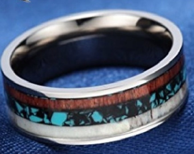 8mm Amazing Redwood, Deer Antler, and polished Turquoise stone set inside Titanium (wedding bands, engagement rings, anniversary, promise)