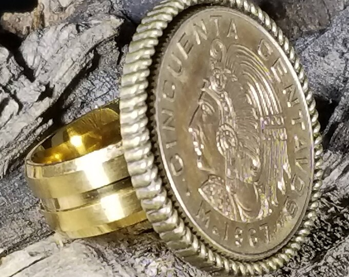 1968-1982  50 CENTAVOS- MEXICAN Flat Coin Ring (Titanium Closed Band w/ Reeded Bezel)  (24K Gold, Natural Silver or Antique Patina Finish).