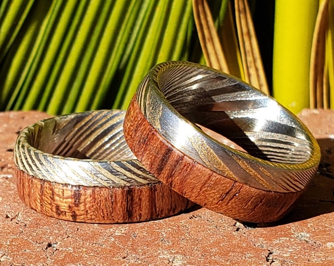 REG 949.95 - 8mm Platinum and Silver w/ 14k Gold Vein Damascus & Wood Mens Wedding Ring Dome Wedding Band | Engagement | Sizes 6-15