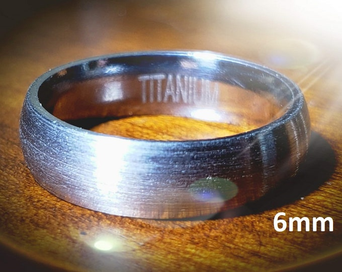 Reg 215.95 - 6mm Titanium Dome (Men, Woman, Unisex) Wedding Band Natural Gray Brushed Outer & Smooth Polished Inner Band -Comfort Fit Style2
