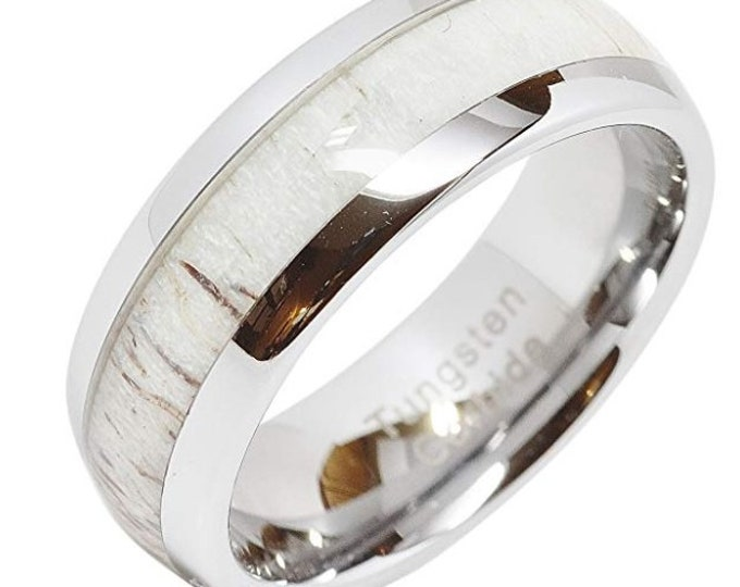 REG 299.95 - 8mm Tungsten Carbide Dome Ring with Deer Antler  (wedding band, engagement ring, birthday, Christmas gift, mothers day, hunter)