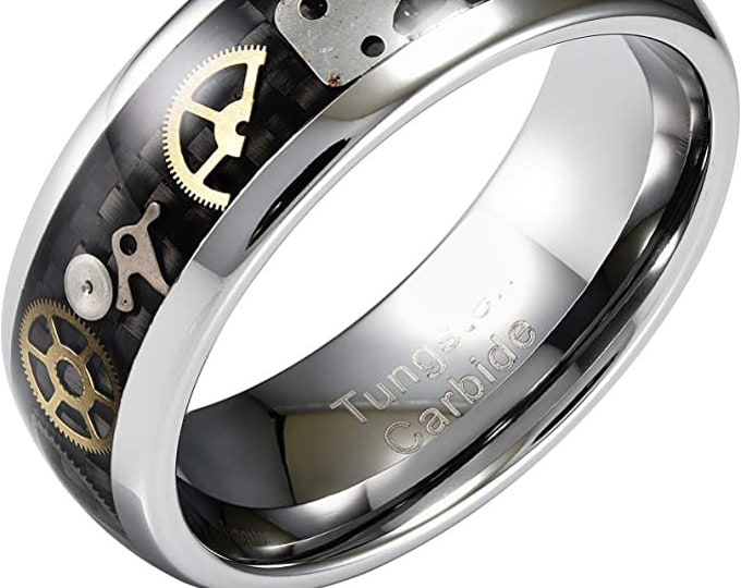 8mm Black Steampunk Gear Wheel Tungsten Ring, Wedding Rings, Unisex Rings, Carbon Fiber Inlay, Comfort Fit, US Sizes 6-16.