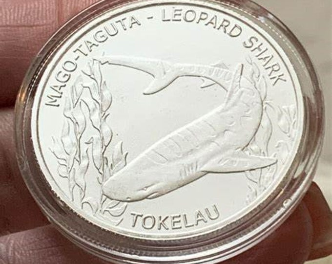 2018 Tokelau Leopard Shark Coin, 1 oz Silver Coin, .999 Pure Fine Silver, Metal Plating Options Available.