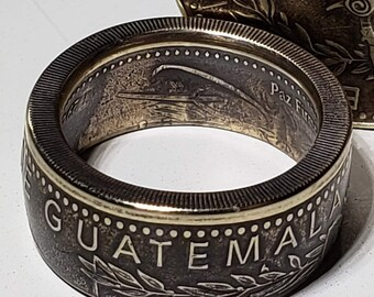 1998-2017 Guatemala 1 Quetzal Coin Ring (Heritage Ring made from authentic coin) Antique Brass / Bronze Finish w/ Free Jewelers Clear Coat.
