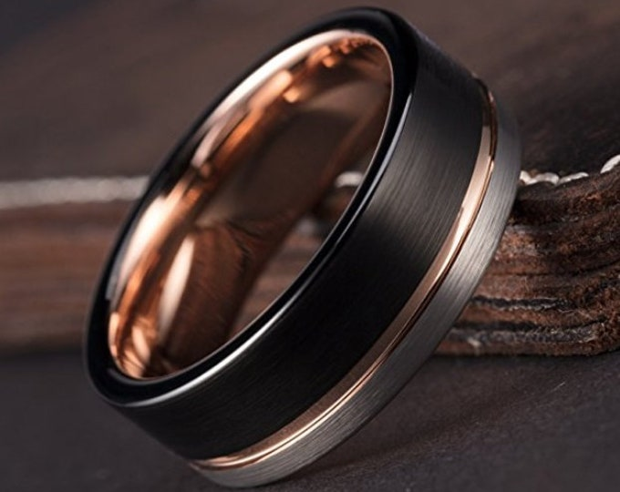 6mm (US 4-14) Black & Silver Brushed Tungsten Carbide w/ 18k Rose Gold Wedding Band   Woman's Wedding Bands, Engagement Rings, Ladies Rings