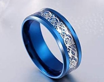 8mm Blue Silver Celtic Dragon Stainless Steel Band, Wedding, Engagement, Unisex Ring, Comfort Fit, US Sizes 6-13.