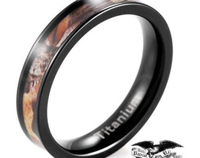 4mm Woman's Brown/Black Titanium Rings Tree Camouflage - Wedding, Engagement, Anniversary, Birthday, Hunting, Hunter