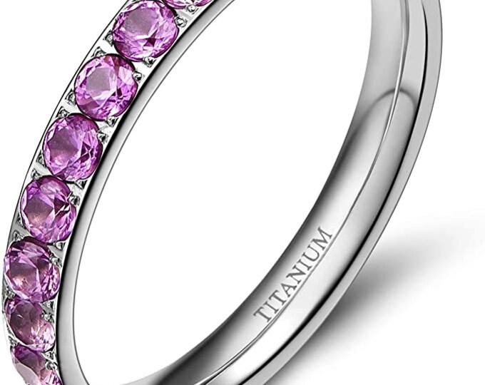 3mm Cubic Zirconia Eternity Wedding Band, Women's Titanium Engagement Band, Purple Pink Finished Ring, US Ring Sizes 3-13.