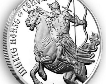 White Horse Of Conquest from The Four Horseman Of The Apocalypse Series, .999 Solid Silver Coin, Metal Plating Options Available.