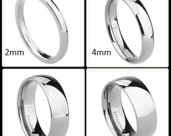 100% Silver Titanium 2mm | 4mm | 6mm | 8mm Comfort Fit Polished Dome Style Wedding Band (Mens & Womens unisex, Engagement, Promise, Ring)