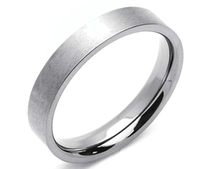 5MM Flat Brushed Comfort Fit Titanium Wedding Band Classic (Mens / Mans / Ladies / Womens, Engagement, Promise, Round Ring, Silver Titanium)