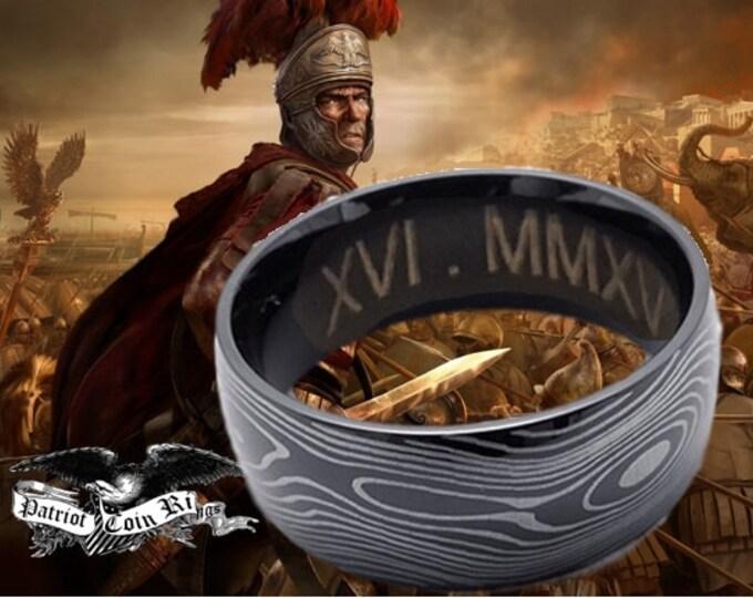 Reg 299.95 - 7mm Damascus Style Titanium Ring  (wedding band replacement, anniversary, gentleman's, Men, Woman, Men, Ladies, Valentines Day)