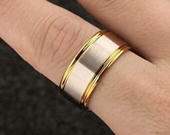 10mm Silver/Gold Titanium Band,Wedding,Engagement Band,Matte Brushed,Step Edge,Polished,Comfort Fit,Men's/Ladies/Women's/Girls' Ring.