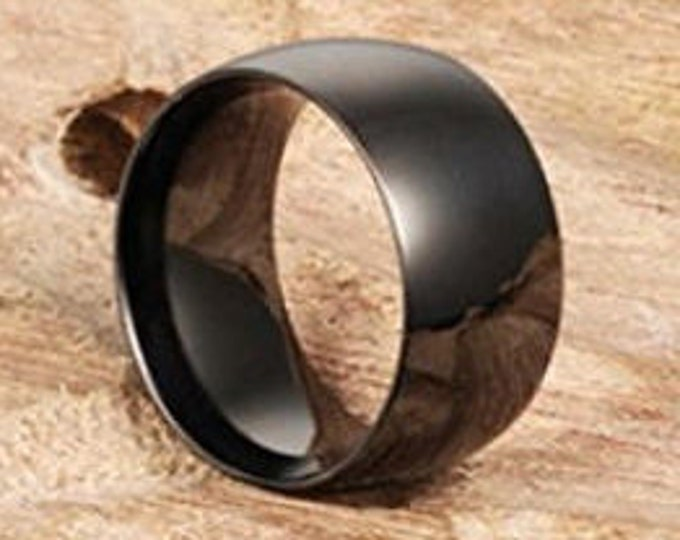 12mm Classic Black Titanium Stainless Steel Ring Wedding Engagement Domed High Polished Band w/ Comfort Fit (Mens / Mans / Ladies / Womens)