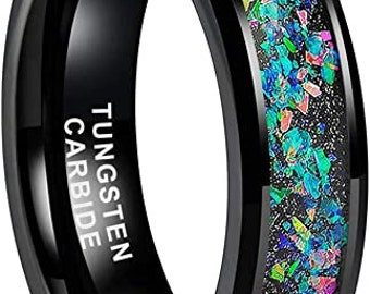 6mm Black Tungsten Carbide Ring,Galaxy Opal Stone Inlay,Beveled Edges,Comfort Fit,US Sizes 5 to 12.
