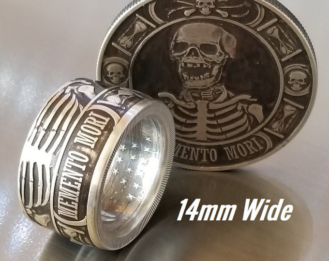 14mm WIDE .9999 Pure Silver Memento Mori (Day of the Dead) Celebration Coin Ring.  Day of Remembrance for loved ones and to Cherish Life!