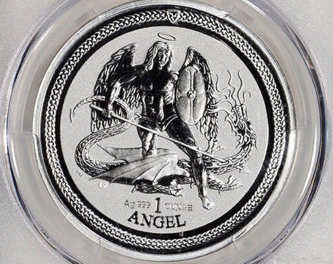 2016 Archangel Michael slaying the Beast, Coin from Isle of Man, 1 Troy Ounce .999 Pure Fine Silver, Metal Plating Options Available.