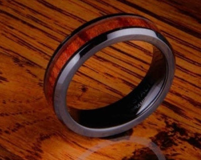 Reg 299.95 - 6mm Hawaiian Koa wood and Black Ceramic Ring w/ Wood Inlay & Inner Wedding Band Comfort Fit (Men, Women, Ladies, Girls, Female)