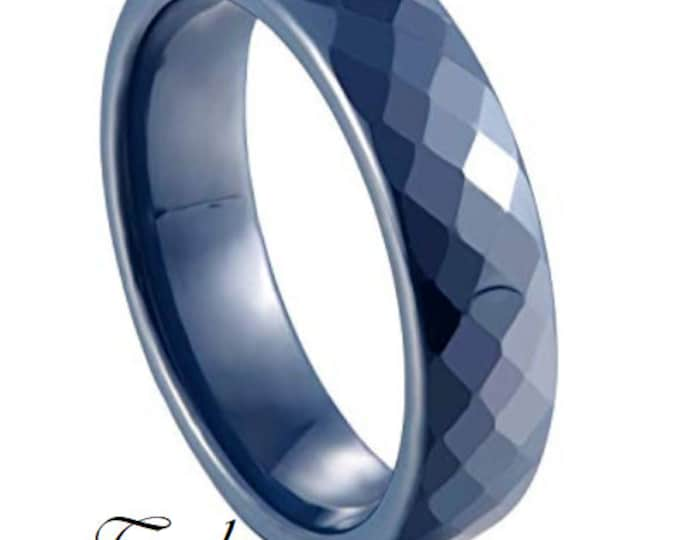 TEAL 6MM Ceramic Honeycomb Faceted Diamond Cut Ring (Multiple Color Options Available!)