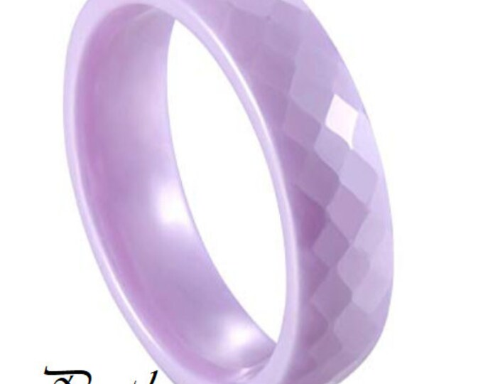 PURPLE 6MM Ceramic Honeycomb Faceted Diamond Cut Ring (Multiple Color Options Available!)