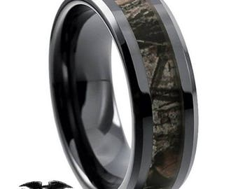8mm Brown/Black Tungsten Carbide Ring Camouflage Hunting Domed Comfort Fit Perfect for Promise, Wedding, Engagement, Anniversary or Birthday