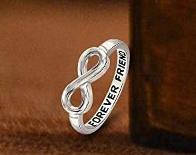 "Sterling Silver ""Forever Friend"" Infinity Band, Women's Ring, Birthday Gift, Eternity Knot Symbol Band, US Sizes  5-10."