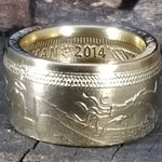 2014 Archangel Michael slaying the Dragon!  (coin from Isle of Man) 1 Troy Ounce .999 Pure Fine Silver -Wedding Band Heavy Ring US Size 3-18