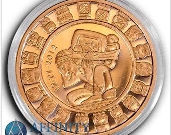 Mayan Aztec Calendar Coin, 1 Troy Ounce, .999 Copper Bullion Coin.