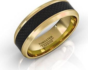 REG 299.99 - 8mm Mens 18K Gold Tungsten w/ Black Carbon Fiber Inlay Band w/ Beveled Edges (Wedding, Engagement, Anniversary) Ring Sizes 7-17