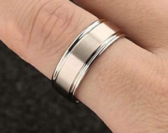 8mm Silver Titanium Band, Wedding, Engagement Band, Matte Brushed, Step Edge, Polished, Comfort Fit, Men's/Ladies/Women's/Girls' Ring