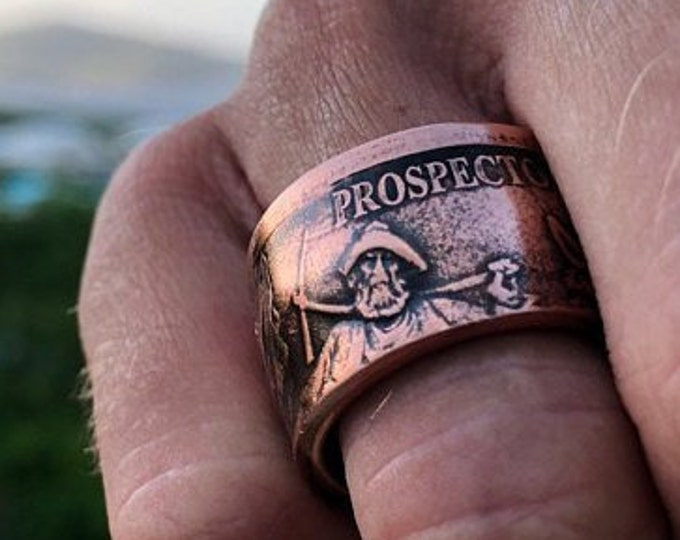 FLASH SALE!  Coin Ring made to order:  1 Troy oz Copper Round - Provident Prospector .999 Copper Bullion Round