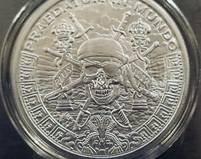 "Silver ""Pieces of Eight,"" Spanish Dollar, 1 Troy Ounce, A Predatory World, .999 Pure Silver Coin (Pirates of the Caribbean)."