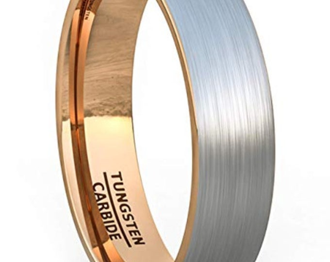 6mm Tungsten Carbide Band in Brushed Gun Metal Grey w/ Rose Gold Inner Band - Comfort Fit -  US Size 7-13 (Mens & Womens Engagement Ring)